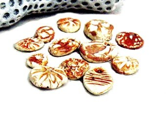 Beads Charms 12 Tiny Rustic Pottery Light Earth Tones for Jewelry Craft White Brown Ceramic Beads Earthy Ancient Ethnic Boho Textured Design