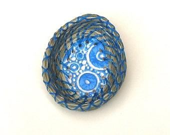 Ring Dish Coiled Basket Fragrant Sweetgrass Miniature Turquoise Jewelry Keeper Blue Ceramic Center Egg Shaped Holder Ring Bearer Basket