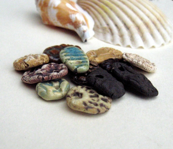 Beads, Charms, Rustic Stoneware Dangle Mix in Blue, Tan, Brown, White, Ivory, Black, for Jewelry or Crafts Embellishment