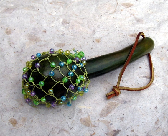 Musical Instrument Gourd Shekere Shaker Green Beaded Rattle African Tribal Music Percussion Rhythm Native Style Leather Strap Woven Fun OOAK
