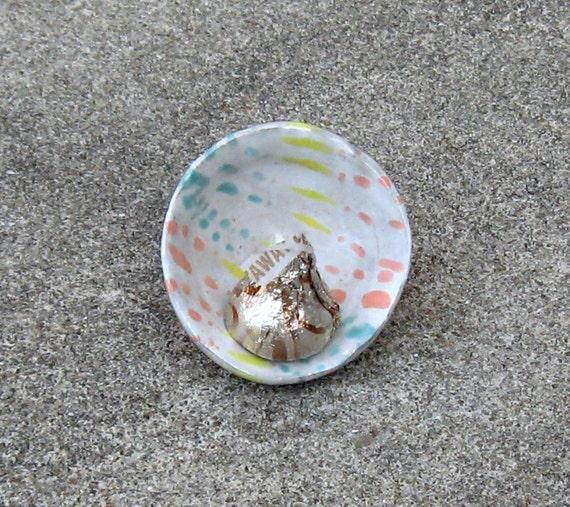 Pottery Salt Cellar Mini Dish Bowl Light Gray Blue Yellow Orange Accents