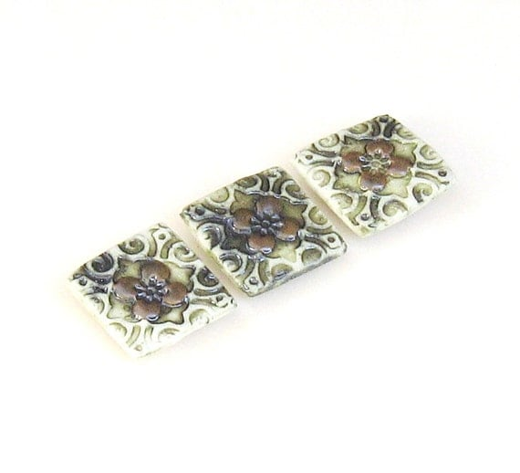 Ceramic Magnets Set of 3 Green, White, Bronze Dogwood Flower Design