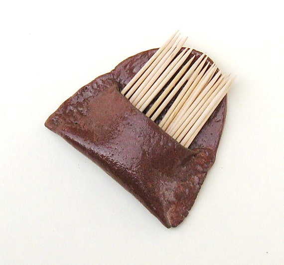 Ceramic Toothpick Holder Wall Pocket Cinnamon Brown Stoneware