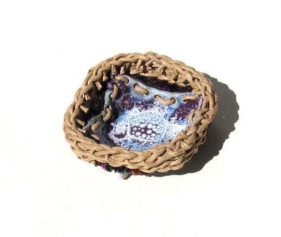 Candle Holder Stoneware Pottery Woven Basket Woven Dish Blue Purple White Cottage Chic Shabby Elegance Tan Rim Ceramic Container Votive Dish