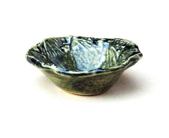 Stoneware Pottery Dish, Small Textured Green Bowl