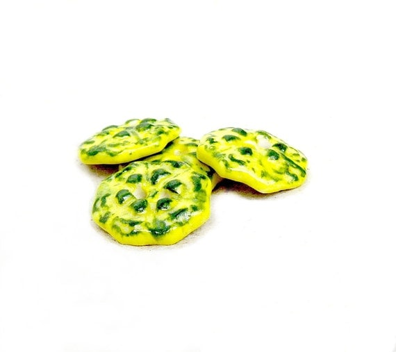 Buttons Funky Bright Neon Yellow Green Stoneware Pottery Ceramic Clay Set of 4