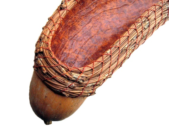 French Bread Basket Coiled Gourd Natural Brown Terracotta Earth Tones Unusual Practical