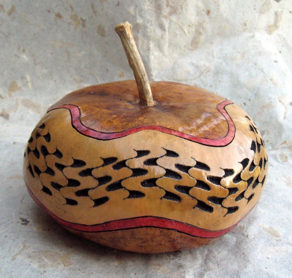 Hand-carved Gourd Box with Lid, Natural tan, red stripes, black, Beauty with Utility