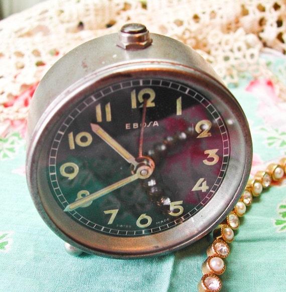 Vintage Ebosa Swiss-made Mini Alarm Clock