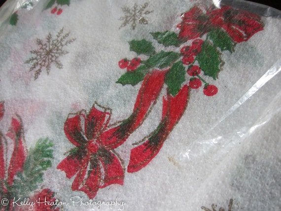 Vintage Christmas  - Holiday Tablecloth - Red and Green Plastic - 54x70