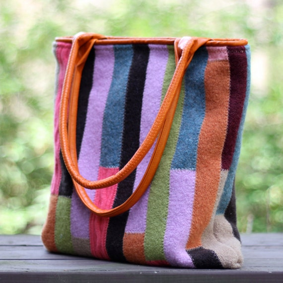 Recycled Sweater Bag - Colorful Patchwork Tote with Recycled Leather Handles