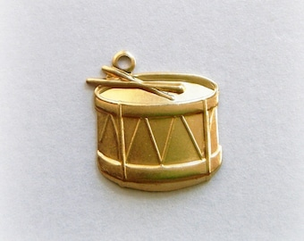 BRASS (25 Pieces)  DRUM Brass Charms - Music Stamping