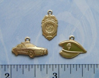 BRASS (6 Pieces) Police Theme Charms - Brass Stampings and Jewelry Findings