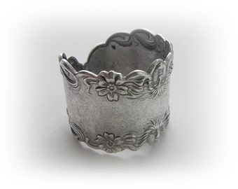 SILVER RING - Art Nouveau Flower Goddess Band Ring - Antique Silver Ox Brass Jewelry (RC-2)