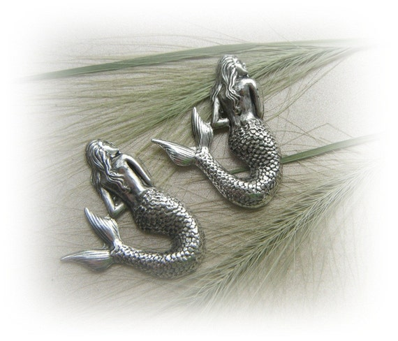 5 -  Large MERMAID Antique Silver Ox Brass Jewelry Findings (F)