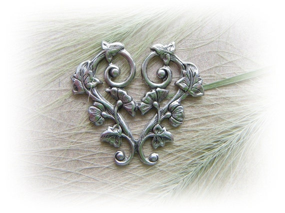 1 - Morning Glory Heart Connector Antique Silver Ox Brass Stamping - Jewelry Findings (C-1)