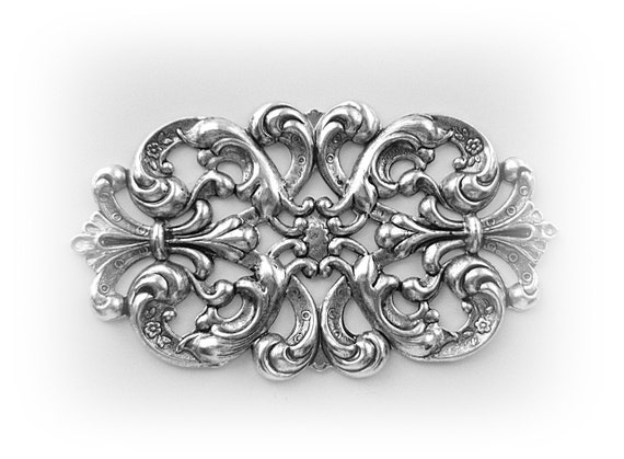 1 Floral Filigree Cartouche / Plaque Antique Silver Ox Brass Stamping - Finding (C8-6)