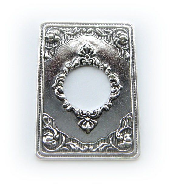 1 - Victorian Keyhole Frame Antique Silver Brass Ox Finish - Jewelry Finding - Stamping (C)