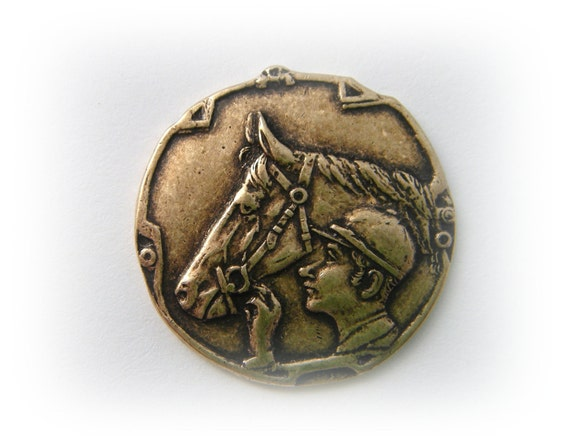 1 Jockey and Horse Coin Antique Brass Ox Pendant Jewelry Finding (C)