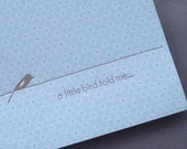 A Little Bird Told Me Letterpress Card (patterned)