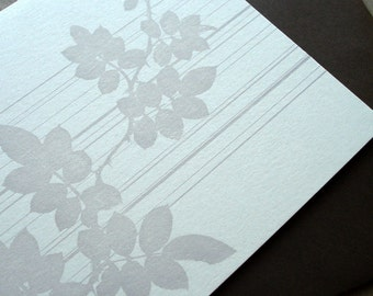 Lines and Leaves Letterpress Card (Grey)
