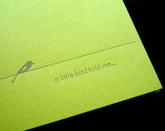 A Little Bird Told Me Letterpress Card