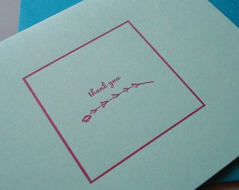 Thank You Letterpress Card - Blue