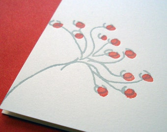 Minimalist Spring Flower Letterpress Card printed in persimmon red and grey inks on creamy white card stock
