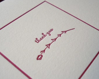 Thank You Letterpress Card - Beet and Fig