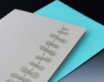 String Along Letterpress Card (grey)