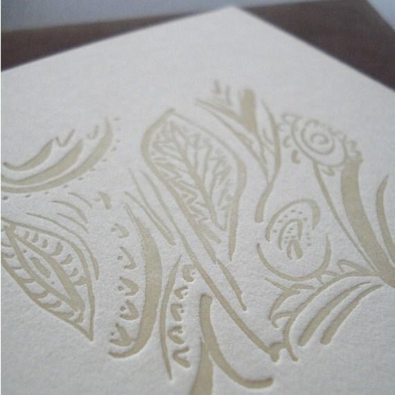 Winter Garden Letterpress Card (grey)