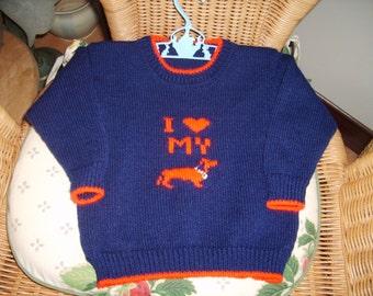 Toddler's Dachshund sweater. Navy/red. 22inch.