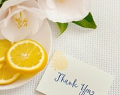 Blue and Yellow Jacobean Letterpress Thank You Note - set of 5