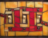 Stained Glass-Mosaic Switch Plate Cover-Yellow Orange and Red