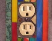 Outlet Cover-Stained Glass Mosaic-Multi-Colored