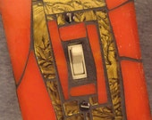 Switch Plate Cover--Orange and Gold--Mosaic Stained Glass