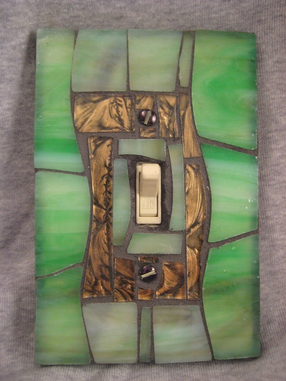 Light Switch Plate Cover-Mosaic Stained Glass-Green and Bronze