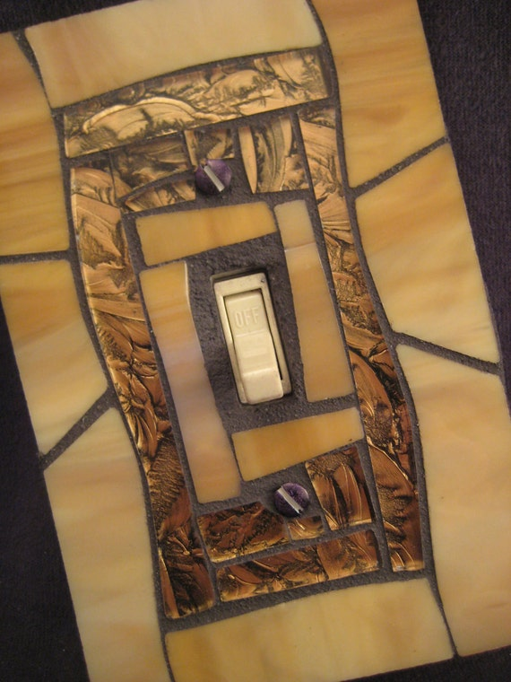 Stained Glass Mosaic Switch Plate Cover--Tan and Bronze