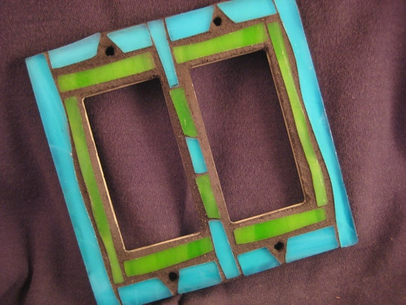 Mosaic Stained Glass-Rocker Switch Plate Cover--Green and Aquamarine