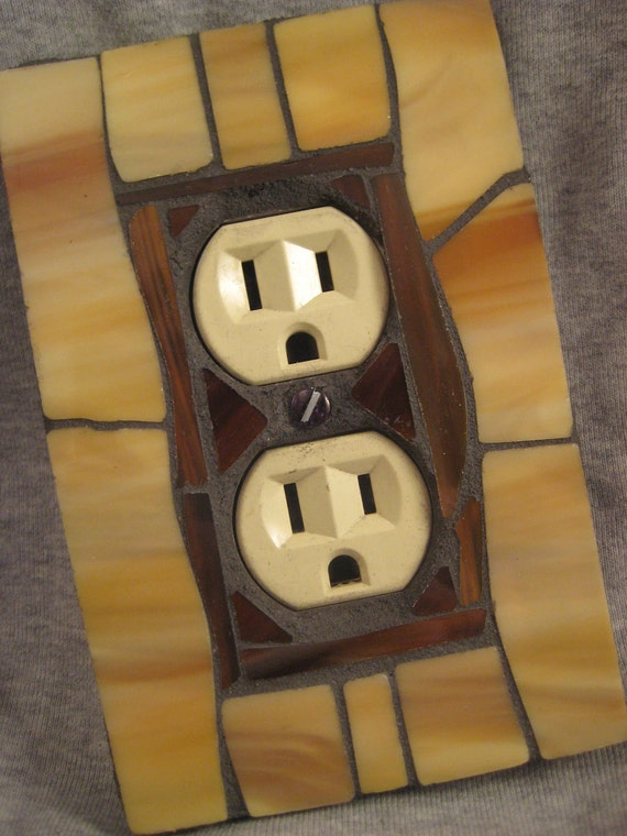Outlet Cover-Mosaic Stained Glass-Tan and Brown