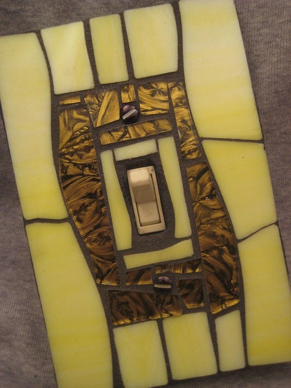 Mosiac Stained Glass Light Switch Plate Cover-Yellow and Gold