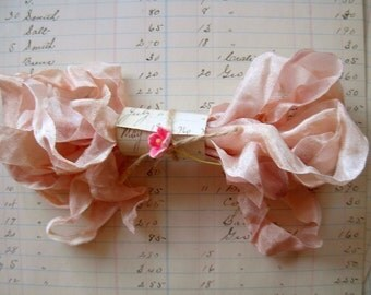 Hand Dyed Ribbon, Peach Sorbet Seam Binding, Scrunched, Crinkled