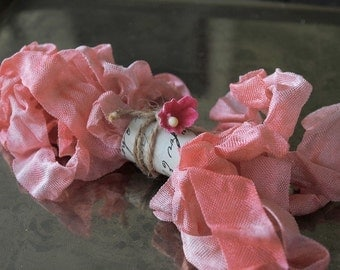 Hand Dyed Ribbon, Pink Grapefruit, Scrunched, Crinkled, Aged Vintage Seam Binding