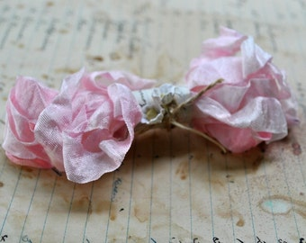 Hand Dyed Ribbon, Pink Parfait, Seam Binding Crinkled and Scrunched