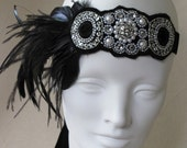 Glam Pearls And Black Deco Flapper Feather Headband Fascinator