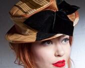 Suffragette Silk Damask Boater Hat - BaroqueAndRoll