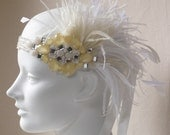 RESERVED FOR tr1nabova--Lemon And Ice Ostrich Feather Headband