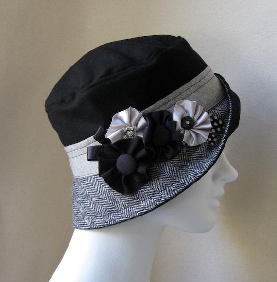 Black And Gray Herringbone Cloche With Rosettes