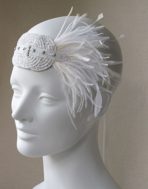 White And Ivory Deco Flapper Feather Headband Fascinator