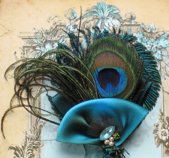 Peacock Feather And Vintage Jewel Hair Clip
